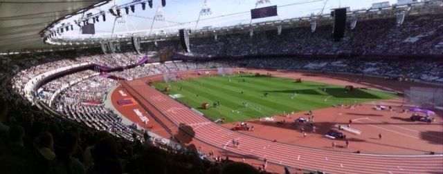 This panorama contains 2 photos in 1, merged together and forms a full, clear view of what the inside of the Olympic Stadium really looks like. I noticed after merging these 3 photos that the woman who was going to sit down turned into a ghost figure, which to begin with was kind of creepy, but then I got used to it.