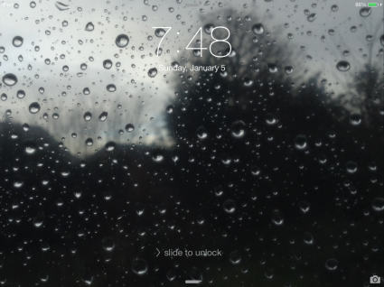 "A Preview of the Wallpaper ""Raindrops on the Glass"" on the 1st Generation iPad mini - Landscape Mode"