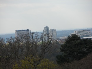 The landscape looks tilted from the viewpoint