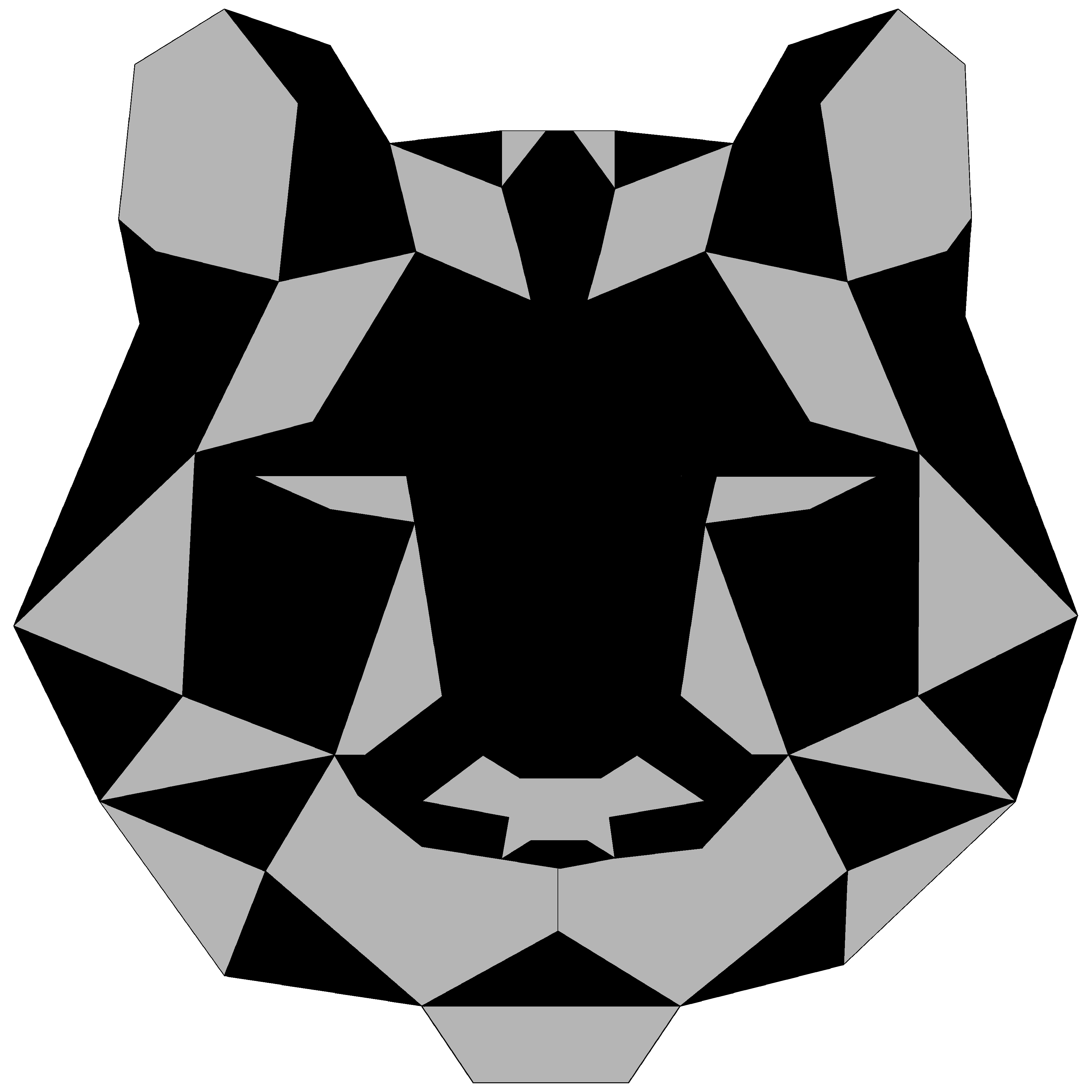 Black & Grey Geometric Lion Design