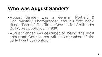 Page 2 - Who was August Sander?