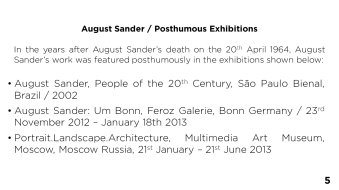 Page 5 - August Sander / Posthumous Exhibitions