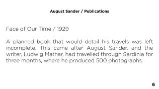 Page 6 - August Sander / Publications