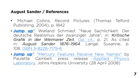 Page 7 - August Sander / References