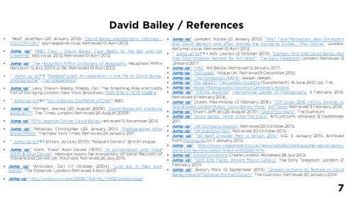 Page 7 - David Bailey / References