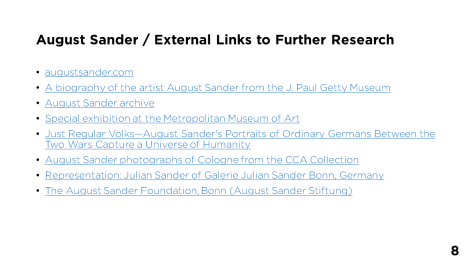 Page 8 - August Sander / External Links to Further Research