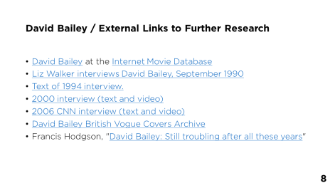 Page 8 - David Bailey / External Links to Further Research
